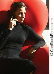 businesswoman talking on mobile phone wmnb