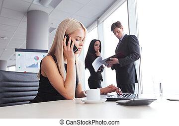 Businesswoman talking on phone