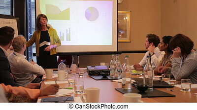 Businesswoman Talking Through a Presentation - Panning shot...