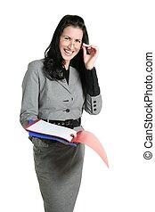 Businesswoman teacher positive expression folders