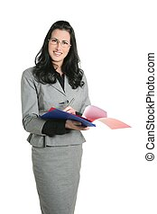 Businesswoman teacher positive expression folders