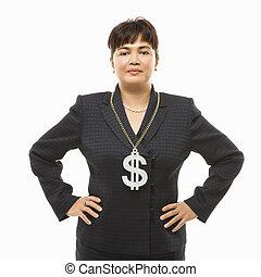 businesswoman, teken., dollar