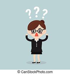 Businesswoman thinking of choice, flat design, vector