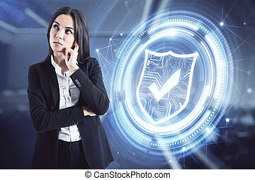 Businesswoman thinking on digital guard symbol background, cyber security concept