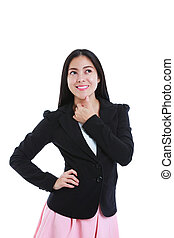 Businesswoman thinking with her thumb on her chin. Isolated on white background.