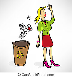 Businesswoman throws documents in the trash