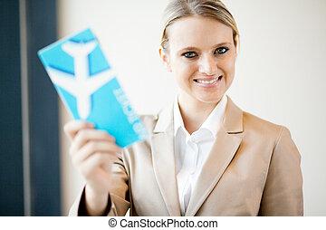 businesswoman, ticket, vasthouden, lucht