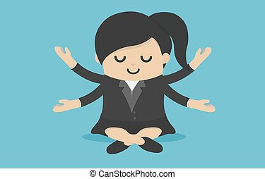 Businesswoman to do meditation