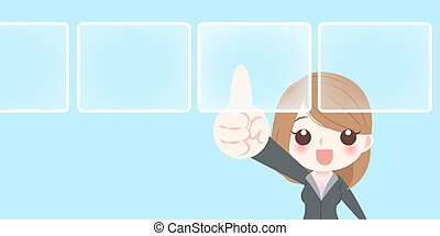 businesswoman touch virtual screen