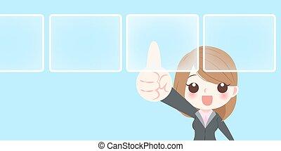 businesswoman touch virtual screen
