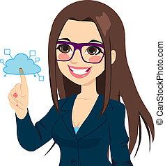 Businesswoman Touching Cloud Computing