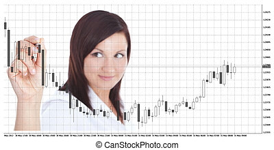 businesswoman touching forex chart over white - smiling...