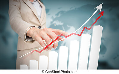 Businesswoman touching futuristic bar chart with arrow