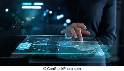 Businesswoman touching interface and startup a global network connection on virtual screen ,innovation and communications concept