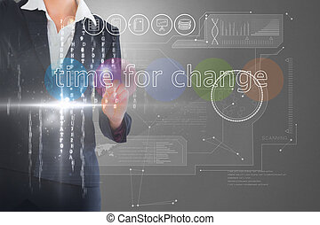 Businesswoman touching the words time for change on interface