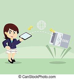 businesswoman transfering money