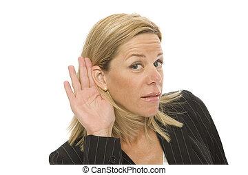 businesswoman, tries, om te luisteren