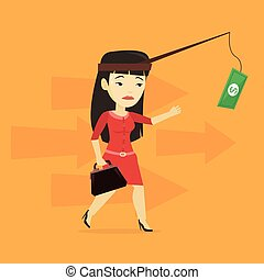 Businesswoman trying to catch money on fishing rod