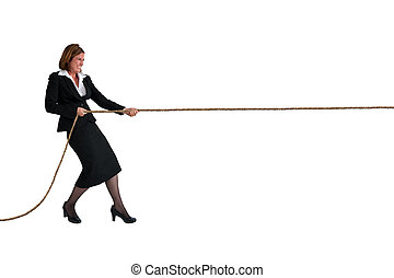 businesswoman tug of war isolated on white