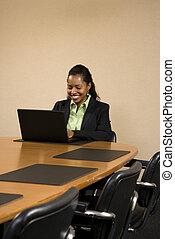 Businesswoman typing.