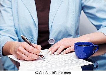businesswoman, underskrive kontraher