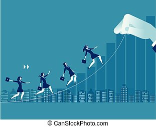 Businesswoman up toward target. Concept business illustration. Path to success