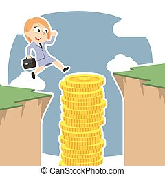 Businesswoman use coins stack to jump over cliff