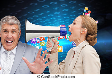 Businesswoman using a megaphone at her colleague against hexagon pattern on technical background with binary code