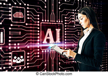 Attractive young european businesswoman using tablet glowing AI circuit interface on dark background. Artificial intelligence and hud concept