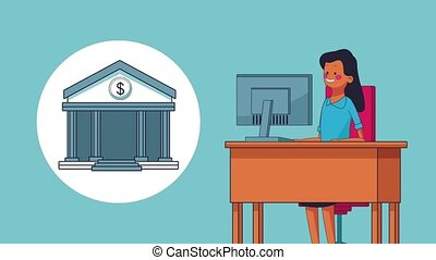 Businesswoman using bank app HD animation - Businesswoman...