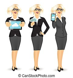 businesswoman using cloud computing on different devices