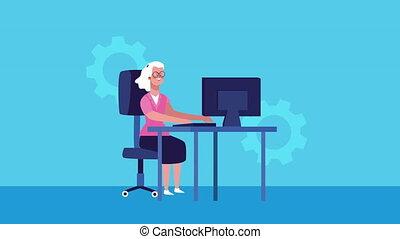 businesswoman using desktop character animated ,4k video ...