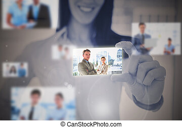Businesswoman using digital interface