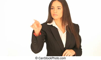 Businesswoman using interactive dis