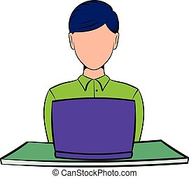 Businesswoman using laptop icon cartoon