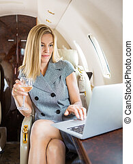 Businesswoman Using Laptop In Private Jet - Beautiful ...