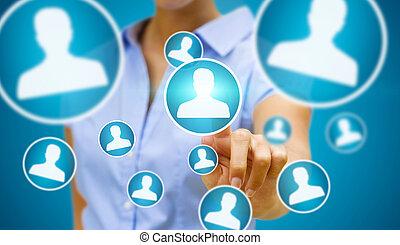 Businesswoman using modern social network - Businesswoman ...