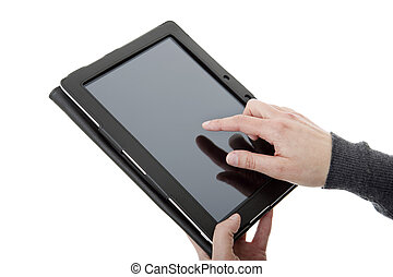 touch pad - businesswoman using touch pad, close up shot on...
