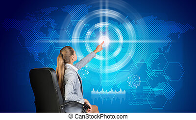 Businesswoman using virtual interface