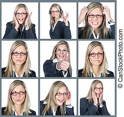 Businesswoman various emotions