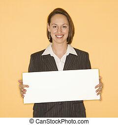 businesswoman, vasthouden, leeg, teken.