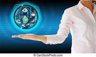 businesswoman, vasthouden, wereld, .technology, handel concept