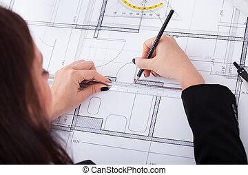 businesswoman, vervaardiging, bouwschets