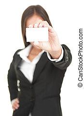 businesswoman, visitekaartje, vasthouden