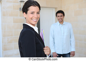 Businesswoman visiting a client