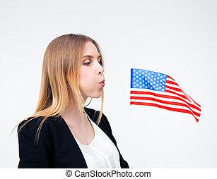 businesswoman, vlag, blazen, ons