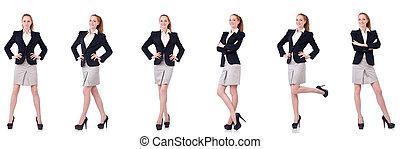 businesswoman, vrijstaand, op wit
