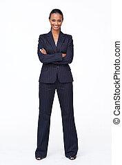 businesswoman, vrijstaand, zeker, indiër, het glimlachen,...