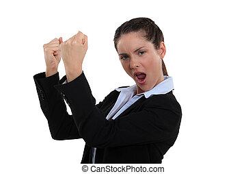 businesswoman., vrolijke