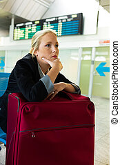 businesswoman waiting at the airport
